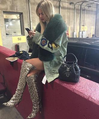 jacket boots khloe kardashian kardashians fur instagram animal print