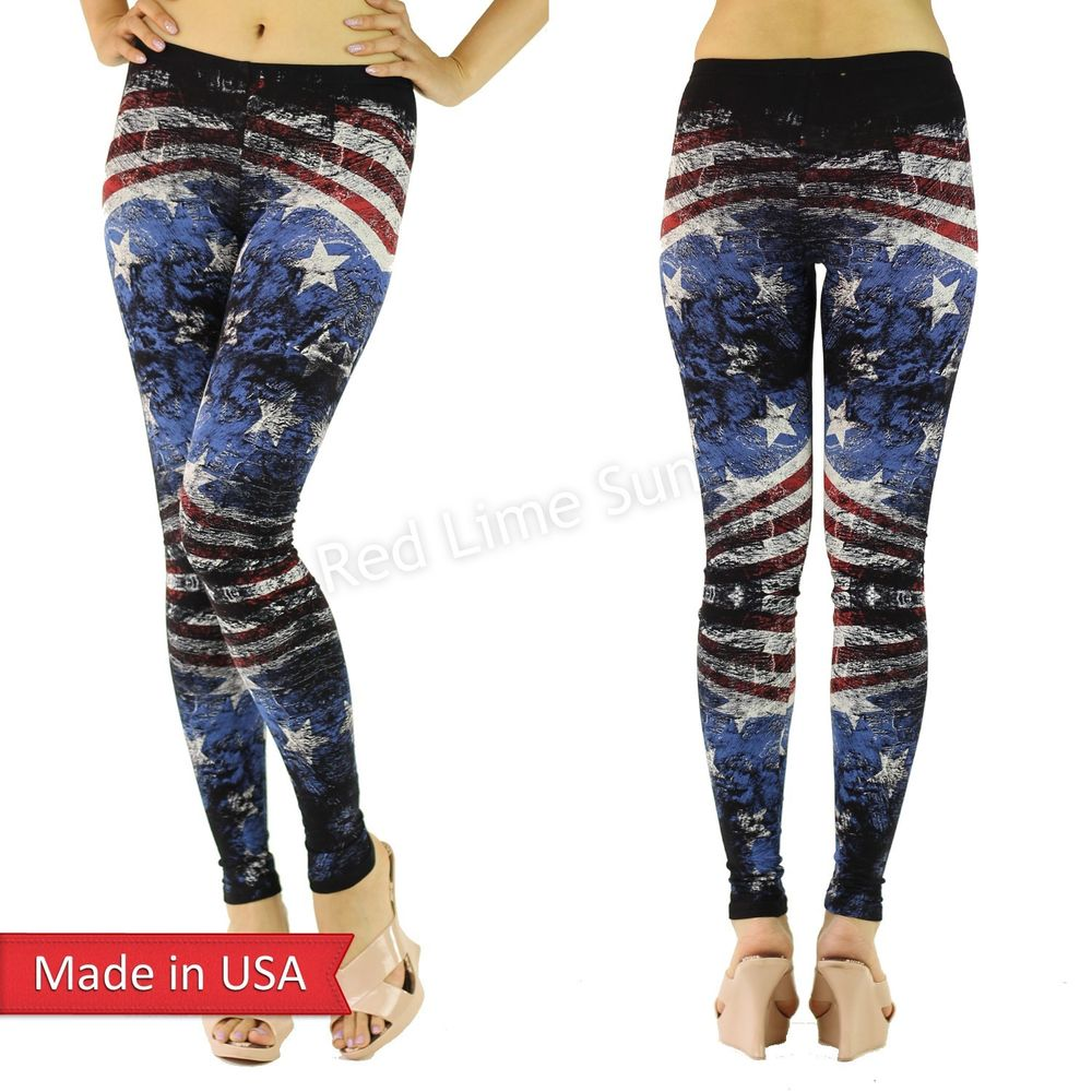 New Women American Flag Weathered Print Cotton Blend Leggings Tights Pants USA