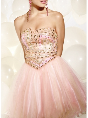 Buy Exquisite A-line Strapless Mini Organza Prom Dress with Beadings and Rhinestones  under 200-SinoAnt.com