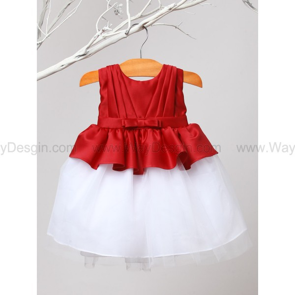 red flower girl dress red dress red pleated satin