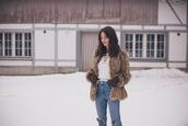 to bruck ave,blogger,sweater,top,jeans,jacket,shoes,winter outfits,faux fur jacket