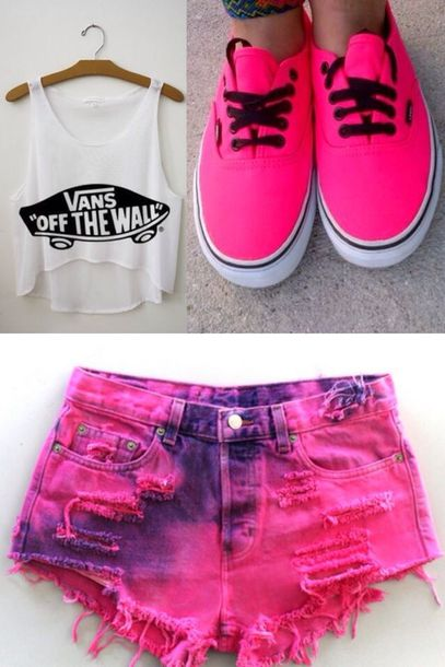 shirt shoes pink shoes shorts tank top short girly nail accessories tie dye ombre bleach dye vans coat top pink hot pink summer sexy cute