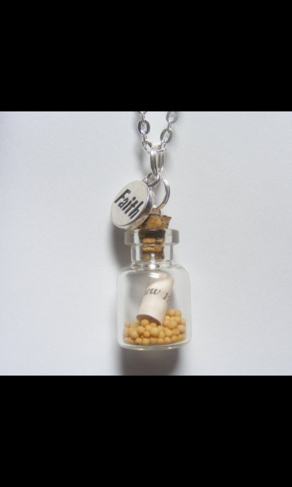 jewels bottle necklace necklace mustard seed faith
