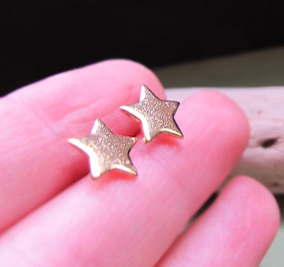 8d6d3f451 Gold Star Stud Earrings - Delicate Post Studs 10mm - Elegant Jewelry - Stars  Earrings - Gold Studs - Gift for ...