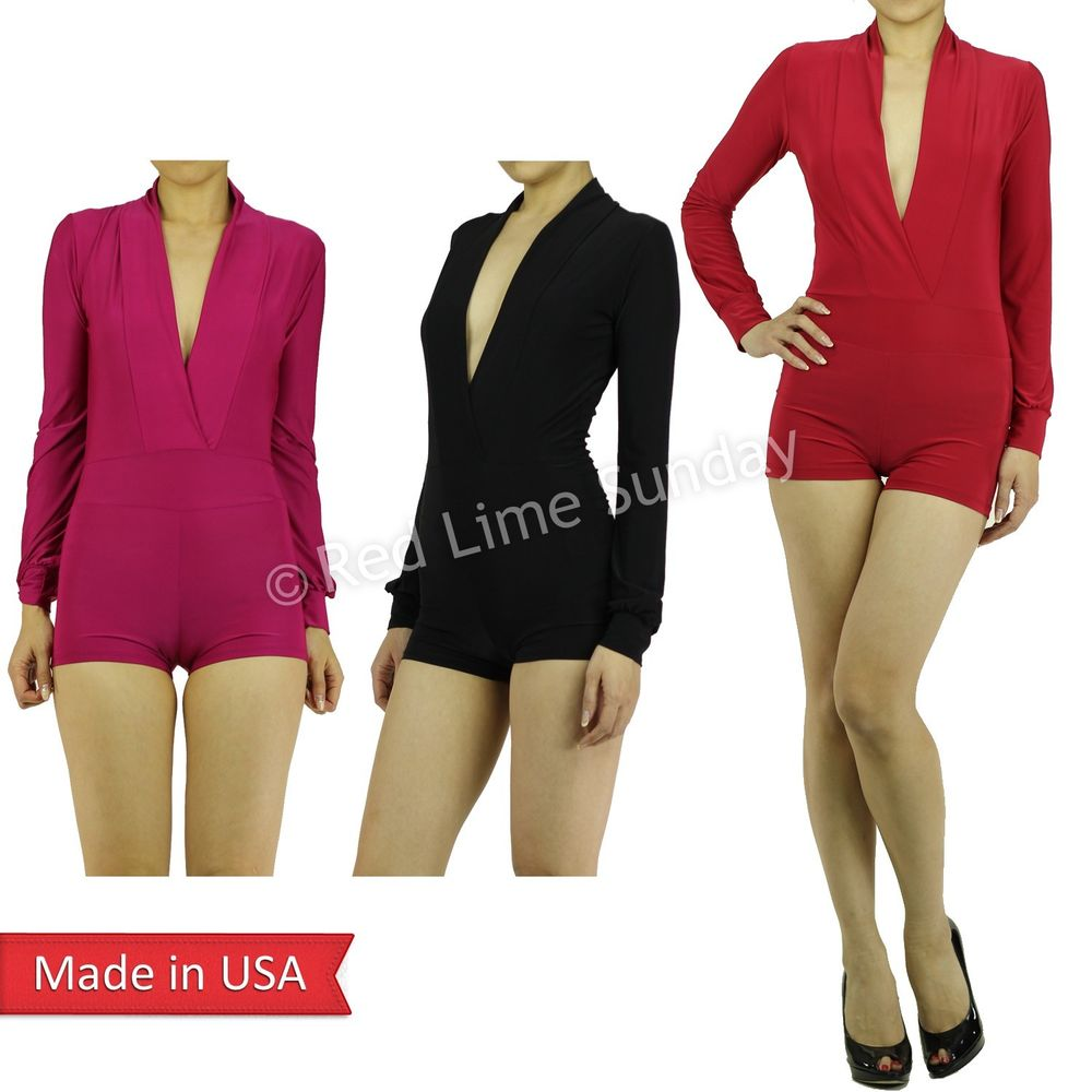 Sexy Solid Color Black Red Plunging Deep V Neckline Mini Jumpsuits Romper USA