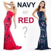 dress,rachel allan,navy dress,blue dress,strapless,prom dress,floral dress,embroidered dress