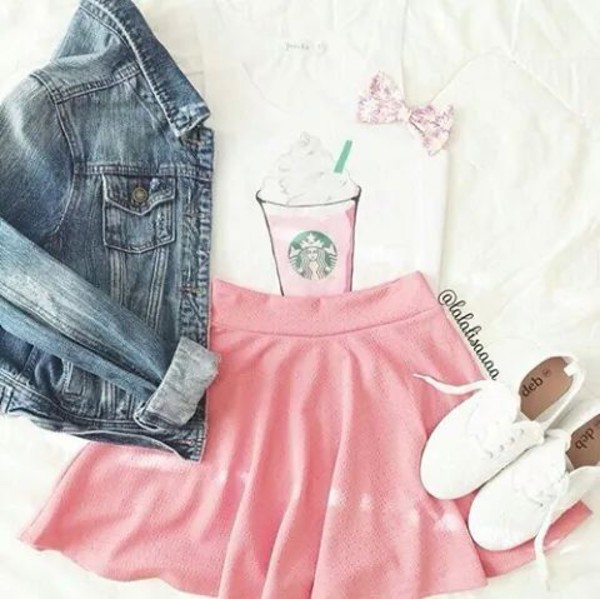 shoes back to school denim jacket white shoes skater skirt starbucks coffee skirt starbucks top shirt starbucks coffee cute top t-shirt tank top jacket top dress