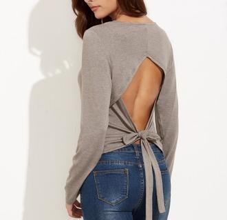 blouse girl girly girly wishlist open back tie up grey backless
