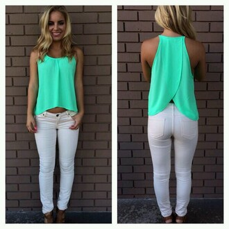 shirt pants leggings blouse teal split back open back turquise mint teal tank flow summer green tabk tank top mint green shirt open back cute summer summer outfits green shirt teal top