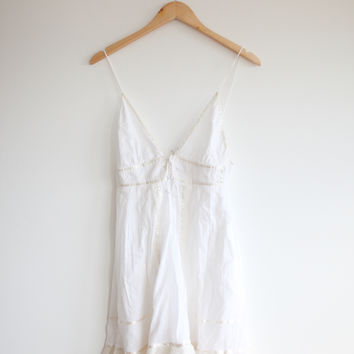 White Cotton Sundress With Lace — Bib   Tuck on Wanelo