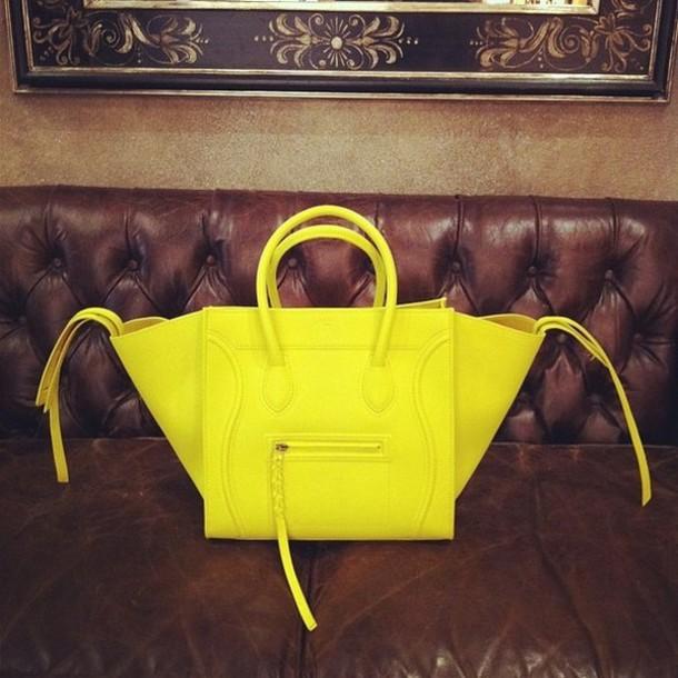 celine yellow leather it bag