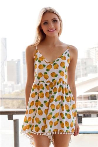 Shop Fashion Avenue - Pineapple Pompoms Playsuit