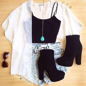 shoes black heels outfit white kimono high wasted jean shorts high heels jewelry