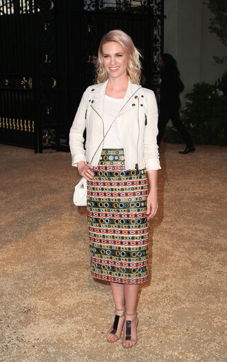 shoes sandals jacket january jones midi skirt biker jacket