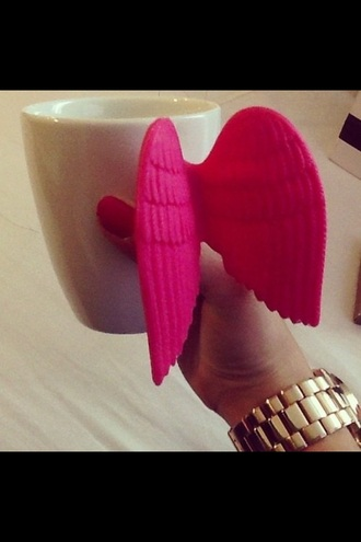 home accessory wings pink cute teacup cup sweet mug gloves