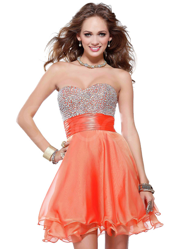 dress sweetheart charming a-line beadings homecoming dress