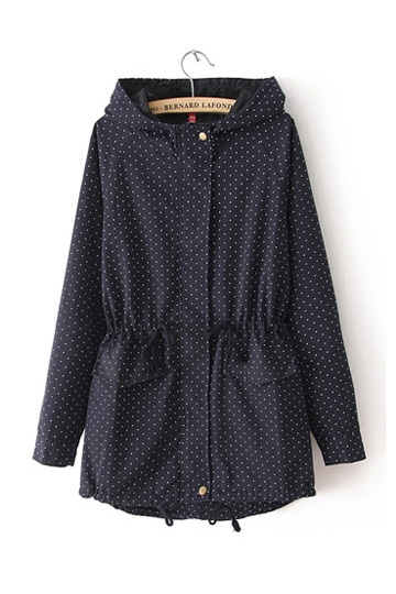 Polka Dot Drawstring Cute Coat [FEBK0128]- US$39.19 - PersunMall.com