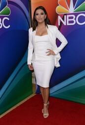 dress,white,blazer,white dress,eva longoria,sandals,shoes