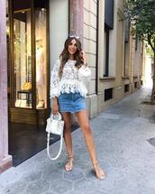 skirt,denim skirt,top,shoes,bag,white bag,white top,lace top,sandals,flat sandals
