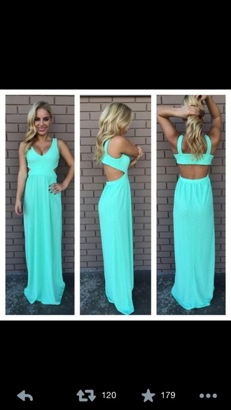 dress maxi dress turquoise cute dress long dress mint dress summer dress spring dress backless mint maxi blue long prom open back pretty cut out back sea foam green or light blue. blue dress dress cut out maxi summer outfits teal maxi dress turquoise bright maxi turquoise dress