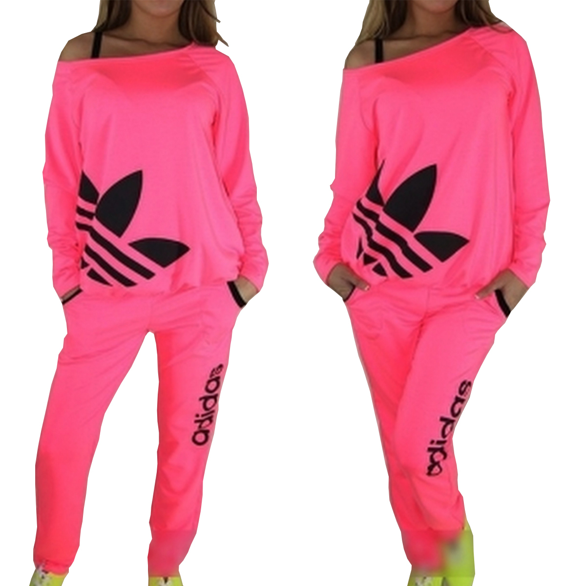 Adidas Neon Women Tracksuit Sweatsuit Track Pants Tops pink - Athletic Apparel