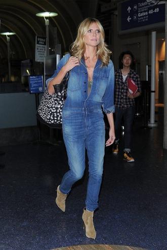 jeans jumpsuit denim heidi klum boots