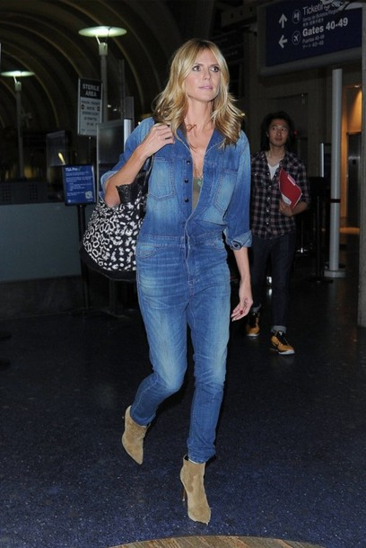 Jumpsuit denim jeans heidi klum boots edit tags