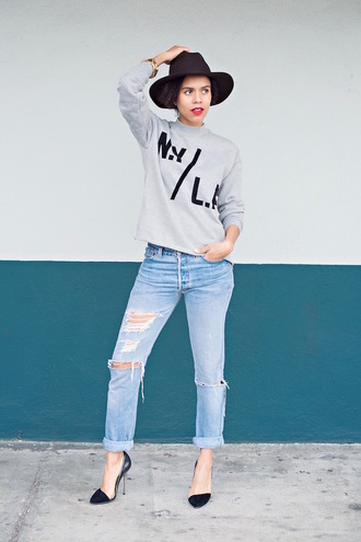style me grasie blogger sweater jeans hat shoes jewels