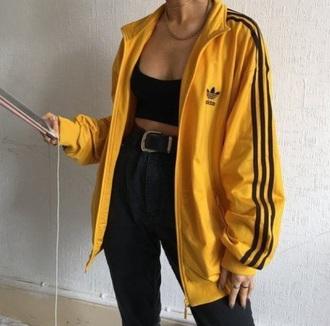 jacket yellow and black striped adidas  jacket