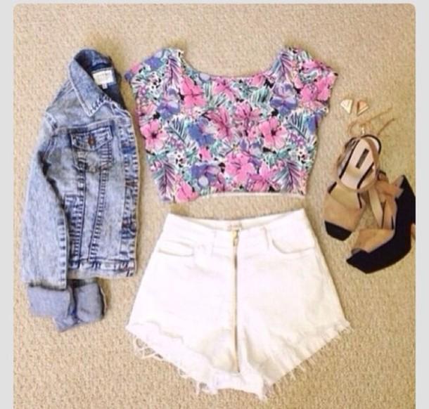 blouse crop tops floral flowers denim jacket high