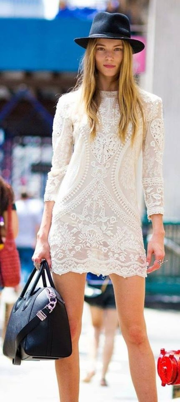 dress white dress lace dress lace bohemian boho chic