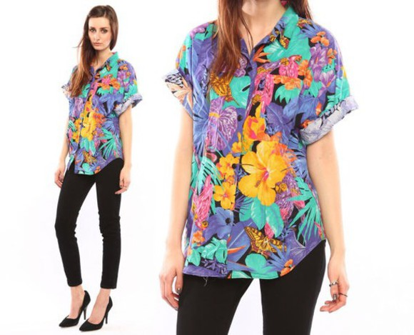 blouse floral tropical button up vibrant hawaiian colorful button down
