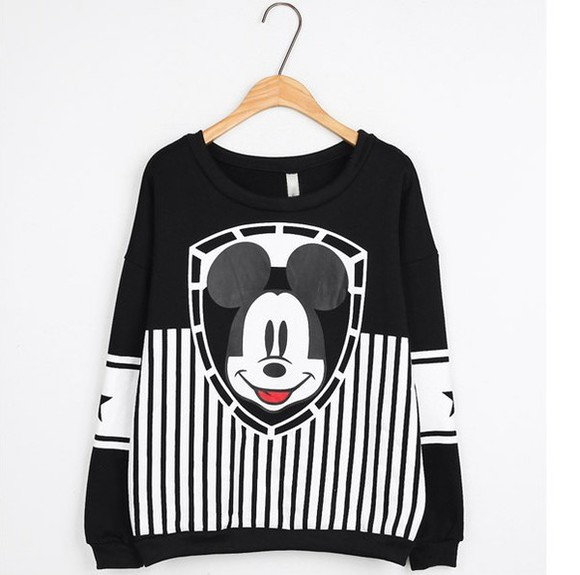 sweater retro black and white blouse mickey mouse oversized sweater baseball sweatshirt cute sweaters