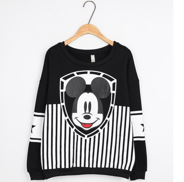 Sweater: mickey mouse, oversized sweater, cute sweaters, black and ...