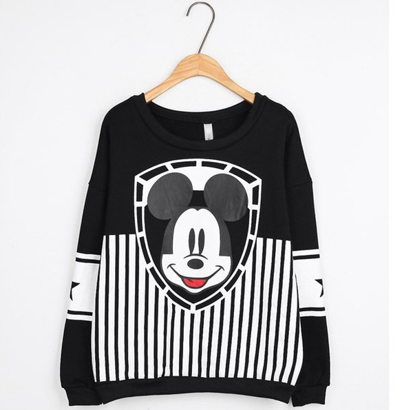sweater mickey mouse oversized sweater cute sweaters black and white blouse