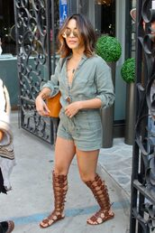 romper,sandals,gladiators,summer outfits,khaki,olive green,sunglasses,vanessa hudgens,streetstyle,shoes,shorts,shirt,blouse