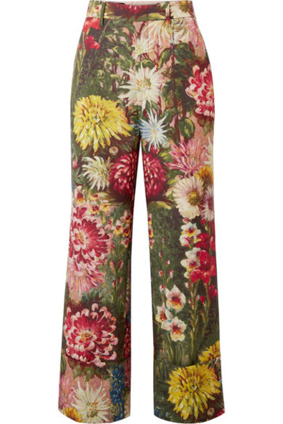 gucci pants wide-leg pants mohair floral print wool red