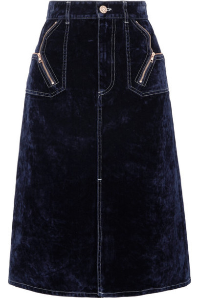 See By Chloé See By Chloé - Cotton-blend Velvet Midi Skirt - Midnight blue