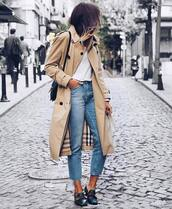 coat,tumblr,trench coat,camel,camel coat,denim,jeans,blue jeans,cropped jeans,shoes,black shoes,gucci,gucci shoes,top,white top,fall outfits