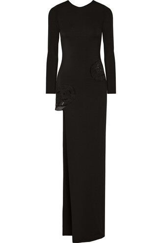 gown embroidered black dress
