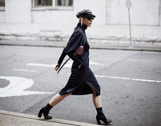 happily grey blogger dress shoes hat bag fall outfits boots all black everything fall dress