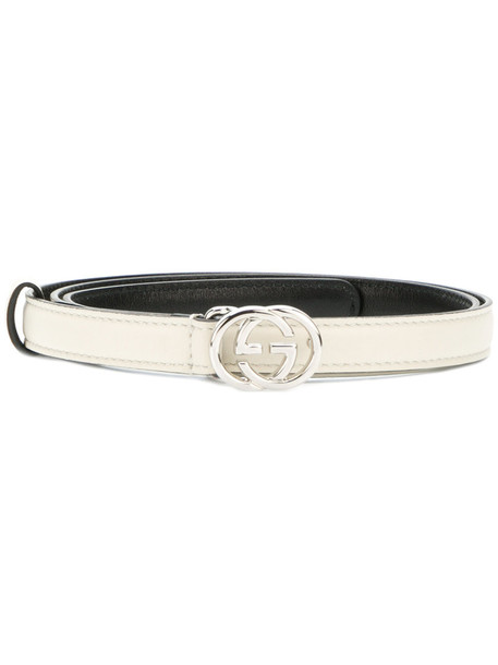 Gucci - GG buckle belt - women - Leather - 75, White, Leather