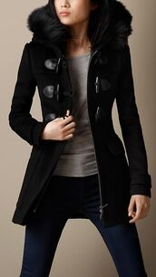 duffle coat,black,burberry