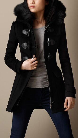 duffle coat black burberry