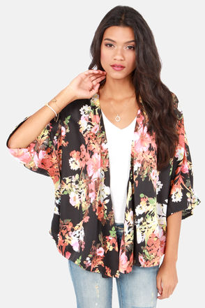 Cute Floral Print Top - Kimono Top - Black Top - $45.00