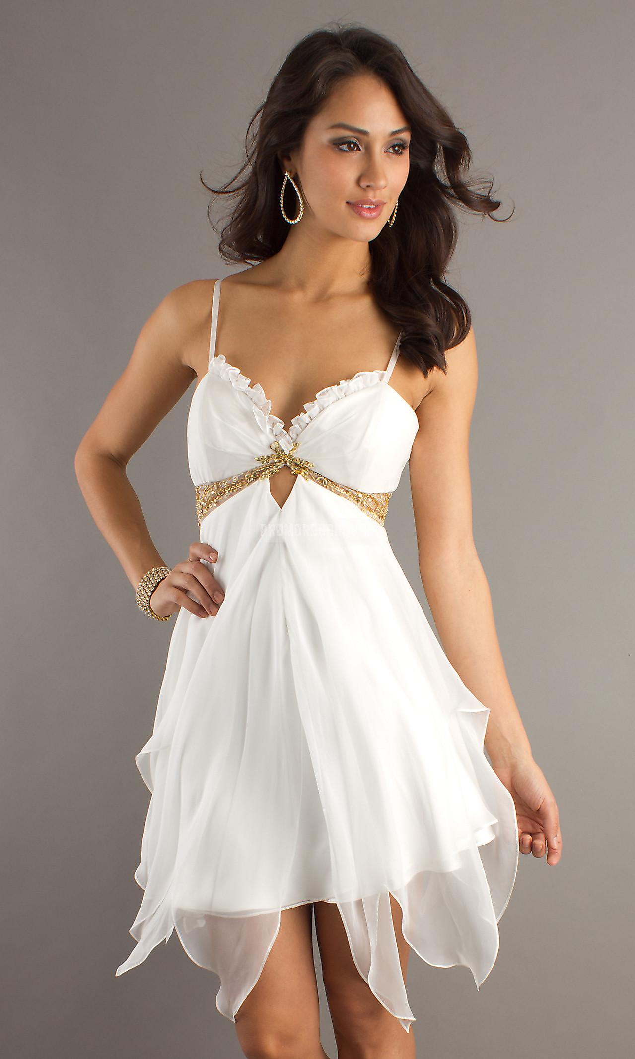 Elegant Keyhole Spaghetti Straps White Ruffles Chiffon Cocktail Dress - Promdresshouse.com