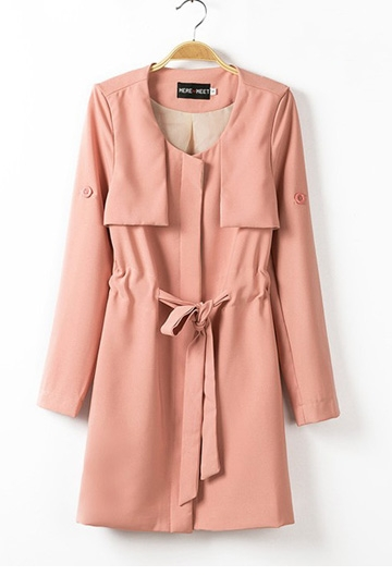 Long Sleeves Slim Fit Coat With Belt [FEBK0130]- US$54.99 - PersunMall.com