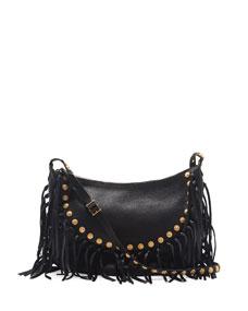 Valentino C-Rockee Studded Fringe Hobo Bag, Black