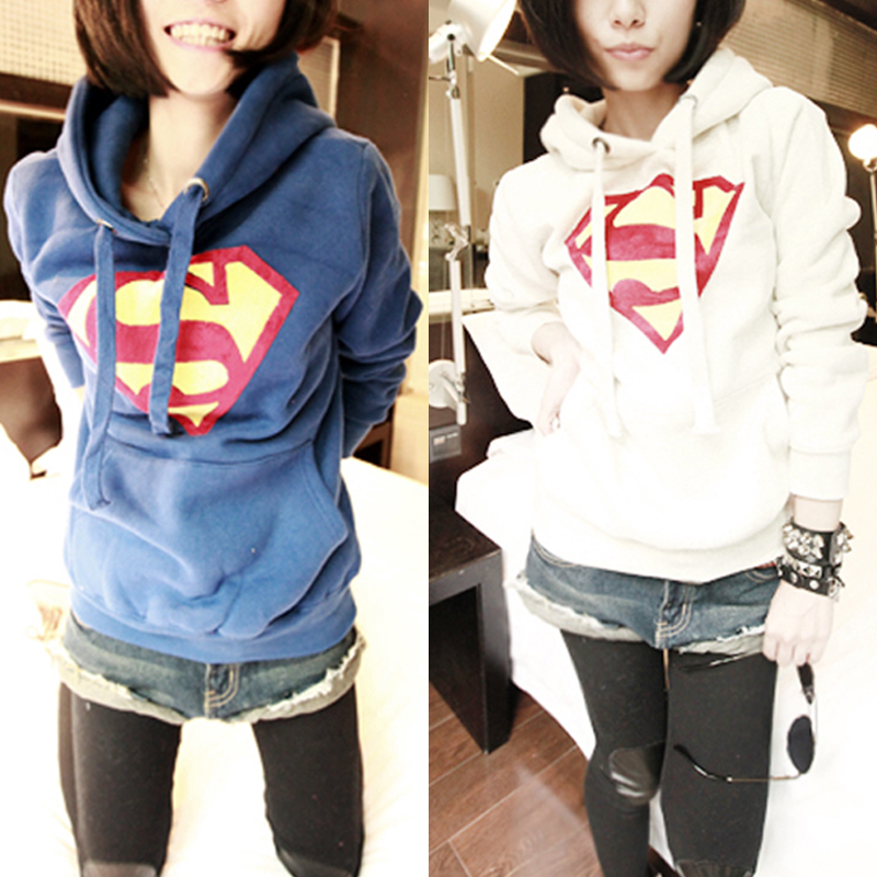 Women superman hoodie coat sweater pullover top sweatshirt casual blouse outwear free shipping