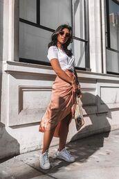 skirt,wrap skirt,sneakers,white t-shirt,bag,sunglasses